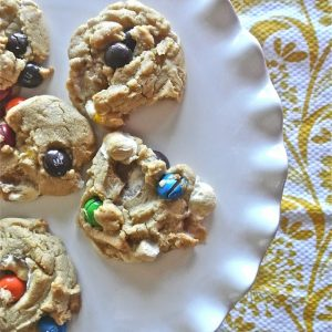 Peanut Butter M & M Marshmallow Cookies