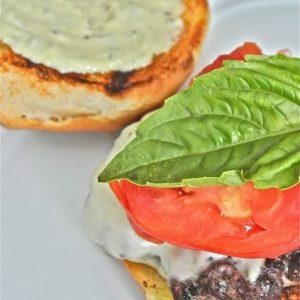 Caprese Burgers with Pesto Mayonnaise