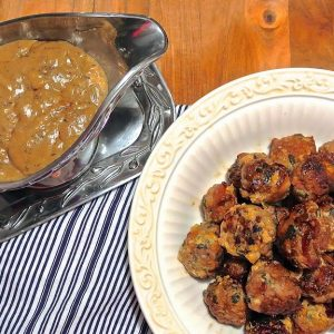 Bacon & Sage Meatballs with Buttermilk Gravy