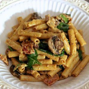 Bacon, Spinach, & Mushroom Alfredo Ziti