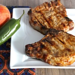 Pork Chops with Jalapeño-Peach BBQ Sauce