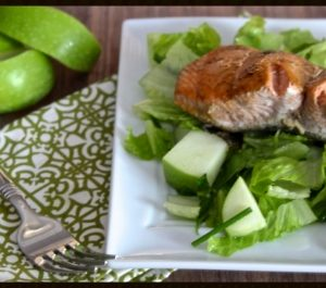 Honey-Dijon Salmon over Apple & Romaine Salad