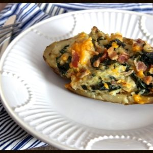 Twice Baked Potato with Bacon & Kale