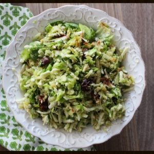 Brussels Sprout Salad with Aged Gouda, Dried Cherries, & Apples
