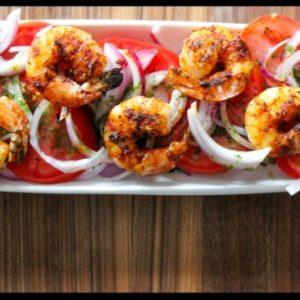 Barbecue Spiced Shrimp over Tomato Salad with Basil Oil