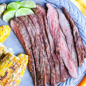 Grilled Cumin Flank Steak with Mexican Street Corn