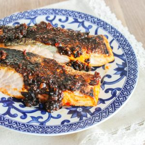 Sweet Chili + Mustard-Glazed Salmon Fillets