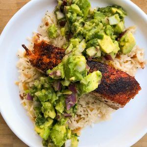 Blackened Salmon + Avocado Salsa